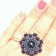 Black Onix and Toho glass beads ring by Buska Blink.