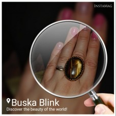 Tiger's eye and Toho glass beads ring by Buska Blink.